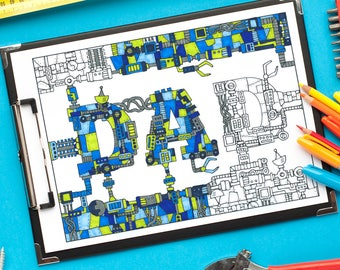 """Dad: Mechanical coloring page - Printable 8.5x11"""" PDF mechanical coloring page for Father's Day - robot steampunk sci fi instant download"""