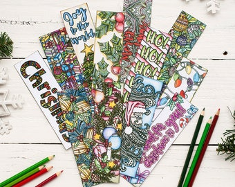 Christmas Coloring Bookmarks x12 - Printable 8.5x11 PDF Download - Printable Christmas Coloring pages with 12 bookmarks to print and color