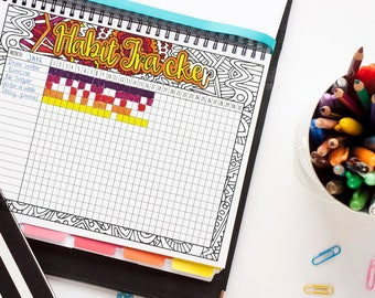 Habit Tracker Printable | Monthly habit or goal tracker template printable PDF | plan + track your goals or habits. Printable planner insert