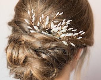 Bridal Hair Comb Pearl Beaded Hair Comb Gold Wedding Headpiece Formal Hair Piece Bridesmaid Gift Wedding Hair Accessories Decorative Comb