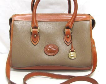 Vintage Authentic Dooney and Bourke Tan and Brown Pebbled All Weather Leather Shoulder Bag