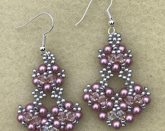Rose Swarovski Beaded Chandelier Earrings