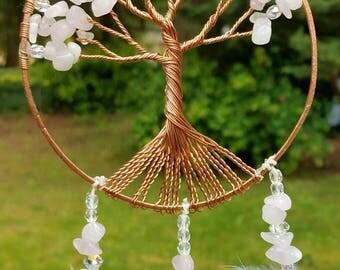 Rose Quartz Tree of Life/Small/Swarovski/Car Mirror Hanging