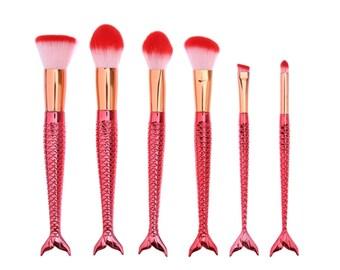 6 Piece Red Mermaid Brush Set