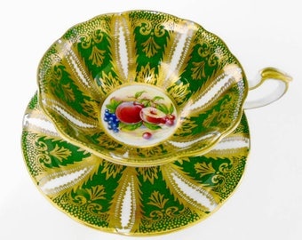Paragon fruit art deco Tea cup and saucer,  Gold Orchard Fruit tea cup, feather gilt Frilly round tea cup, green tea cup