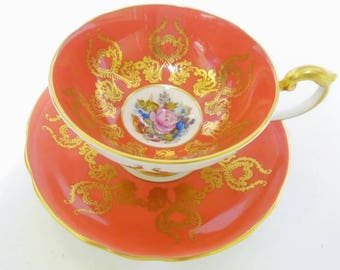 Aynsley artist signed JA Bailey tea cup and saucer, rose & poppy bouquet gold tea cup and saucer, Athens orange tea cup, pedestal tea cup