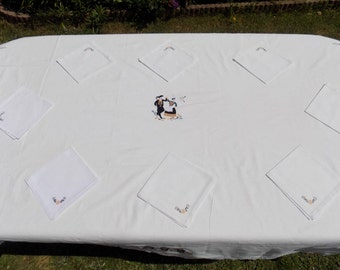 Tablecloth, white tablecloth, cotton tablecloth, napkins, tablecloth, square, 6 cutlery, rectangle tablecloth, 8 cutlery, kitchen, Christmas decoration