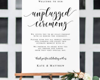 Large unplugged ceremony sign Rustic unplugged wedding sign Large wedding welcome sign Welcome to our unplugged ceremony Printable #vm31