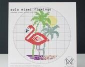 Solo Miami Flamingo - Easy DIY Cross Stitch Kit - Beginner Level Cross Stitch Kit