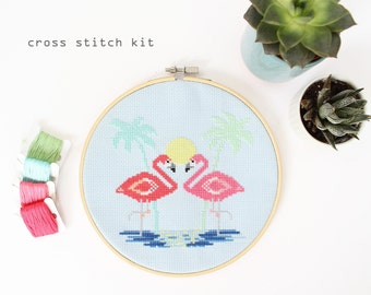 Miami Flamingos - Modern Counted Cross Stitch kit - Easy DIY Cross stitch Kit