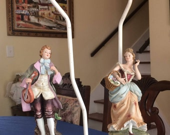 ANTIQUE/Vintage PAIR of Bisque Porcelain German man & woman figurine LAMPS with lampshades and bulbs.