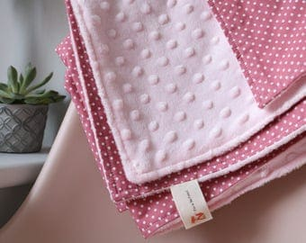 Girl baby blanket, Polkadot baby blanket, Baby gift, Pink Minky Baby Blanket, white and pink baby blanket, Supersoft blanket,
