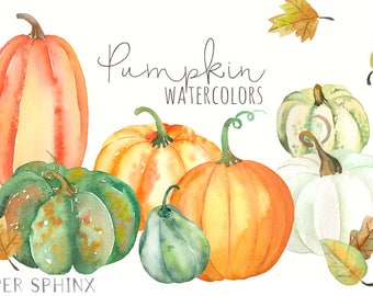 Watercolor Pumpkins Clipart | Fall Clip Art - Pumpkins and Leaves  - Thanksgiving Harvest - Halloween Jack O Lantern - Digital Download