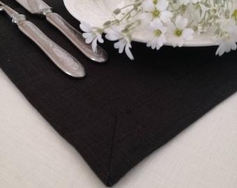 Black Linen Tablecloth - Pure Linen Tablecloth - Natural Linen Tablecloth - Eco Linen Tablecloth - Easter Tablecloth - Christmas tablecloth