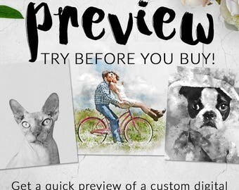 Custom Portrait Preview, Try Before you Buy, Custom Digital Painting, Painting from photo, custom watercolor, Custom portrait,couple,dog,cat