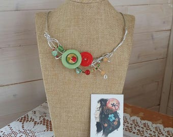 Strawberry madness necklace, silver wire
