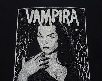 Vintage Vampira Black Short Sleeve Cotton T-Shirt Large Made In USA