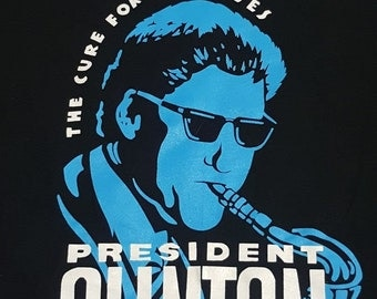 President Clinton The Cure for the Blues Vintage Black Cotton T-Shirt Large