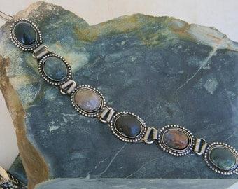 Mexico Semi-Precious Stone & Silvertone Vintage Link Bracelet Malachite Onyx KK11
