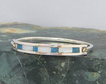 """Mexico Sterling Silver 6-5/8"""" Vintage Hinged Bracelet Chipped Blue Stone MOP Inlay J32"""