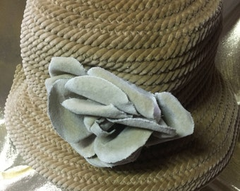 1990's Bucket Style Hat by David Classic Beige with Flower in Front