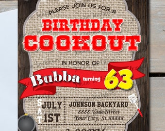 Birthday BBQ Invitations,Birthday Cookout,5x7 Printed or Digital File ***FREE SHIPPING