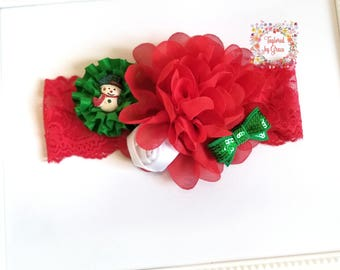 Christmas Headband/Holiday Headband/Snowman Headband/Over the Top Christmas Headband/Headband/Red and Green Headband/Christmas Bow Headband
