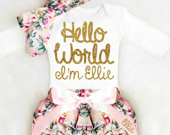 Going home outfit etsy newborn girl take home outfit personalized baby girl going home outfit newborn baby girl clothes personalized negle Image collections
