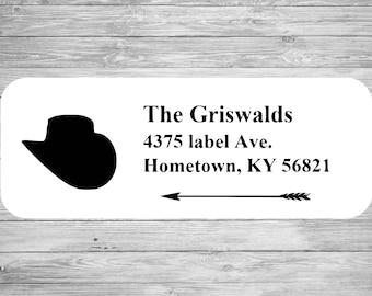 Custom Address Label Silhouette Cowboy and Arrow  LW1005