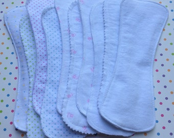 Long Liners, White or Mixed, 5 or 10 ct, Reusable Panty Liners, 100% Cotton Flannel, 3 Styles, Wingless