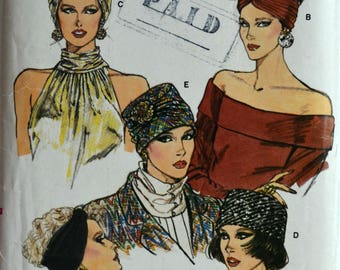1980s Vogue Vintage Sewing Pattern 9665; Misses' Turban and Hat