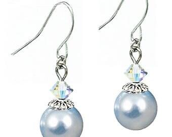 Swarovski (tm) Light Blue Pearl Earrings