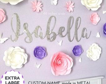 large, metal wall art, baby name sign, metal name sign, girl room decor, girl nursery, girl name sign, metal sign personalize, script name