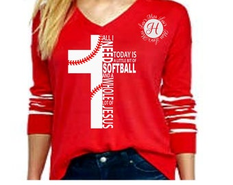 softball svg All i need is softball and a whole lot of Jesus cross  SVG,DFX,scripture svg, Christian svg,Jesus svg,commercial license,cross