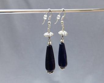 Sterling Silver earring pendant lapis lazuli tear drop