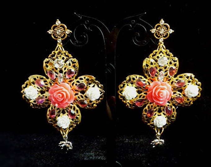 Gold pink White Flower Long Earrings baroque Dolce Style Multicolor sicilian Floral Jewelry Wedding Mother's day gift Bridesmaid celebration