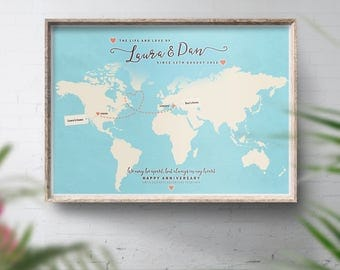 Personalised long distance map, Across the miles, Long distance relationship map, Personalised world travel map, Anniversary gift Home decor