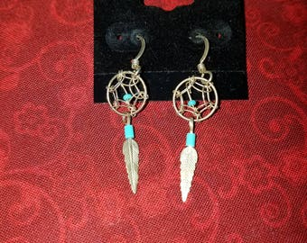 E035 Vintage Sterling Silver Earrings Dream Catchers