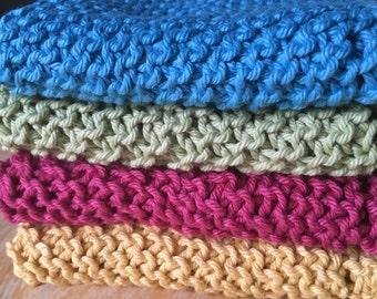 Set of 4 handknit washcloths