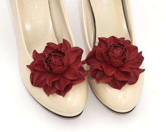 Genuine LEATHER SHOE CLIPS flowers, deep red floral shoe decoration, wedding bridal shoe jewelry | Handmade shoe jewellery, Ukranie