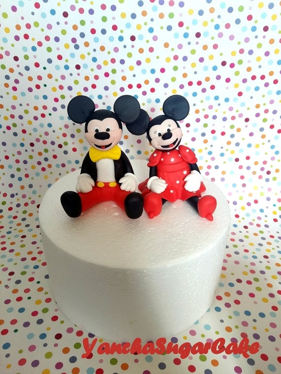 Fondant edible 3d figures Mickey mouse Minnie Cake topper Disney