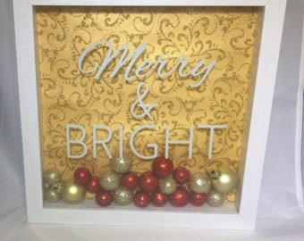 "Holiday Shadow Box Frame Merry and Bright - 9"" x 9"" Christmas Decoration"