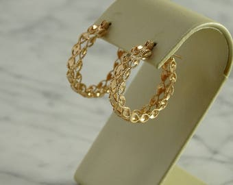14K Rose Gold Diamond Cut Filigree Hoop Earrings (pierced)