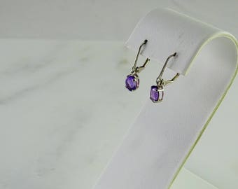 Petite Purple Stone Sterling Pierced Earrings