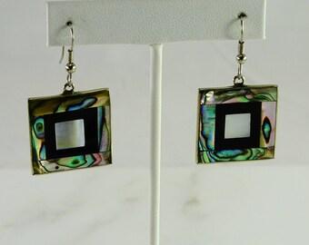 Multi Hued Inlaid Pierced Earrings