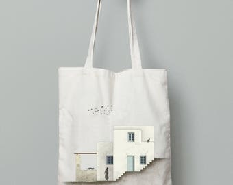 Tote bag canvas, printed bags, Architect gift, Shoulder bag, Cotton tote bag, hand drawn art, greek art, summer tote bag, Amorgos house 2