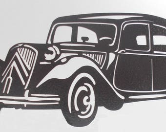 Plate plaque CITROEN TRACTION in iron painted hammered effect finish