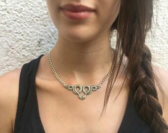 PEAKES Choker - Snakes necklace, snake Choker, silver, nature, snakes, grunge,emo, alternative, goth, gift, ooak, dark,two snakes