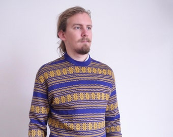 80s sweater 90s Vintage sweater Blue yellow Traditional pattern Knitted Pullower Long sleeve Casual Hipster Street style medium large