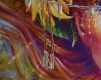 Clear Quartz wire wrapped earrings